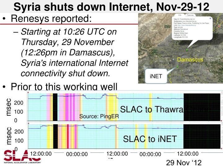 Syria shuts down Internet, Nov-29-12