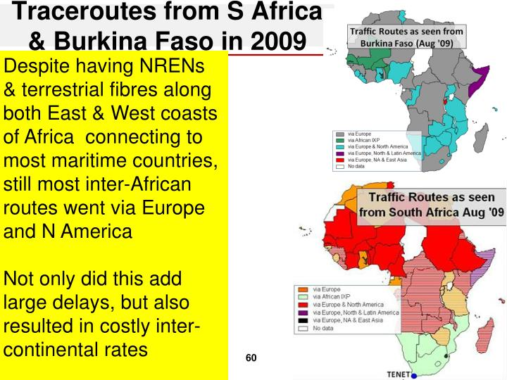 Traceroutes from S Africa & Burkina Faso in 2009