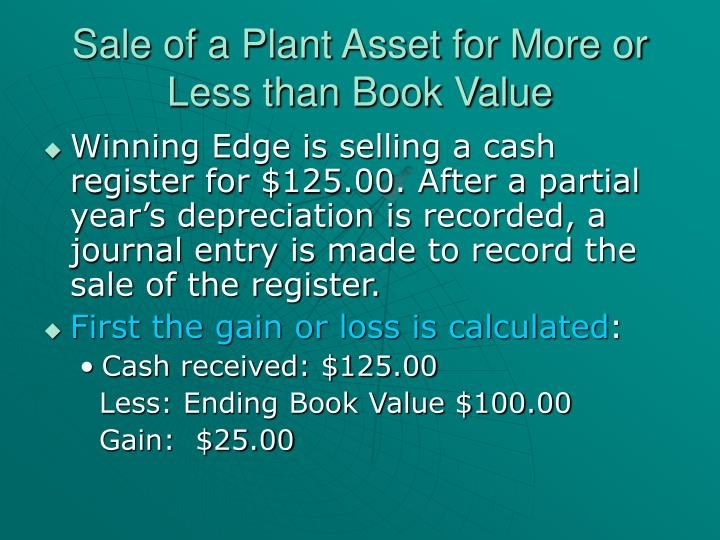 Sale of a Plant Asset for More or Less than Book Value