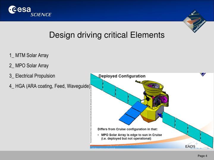 Design driving critical Elements