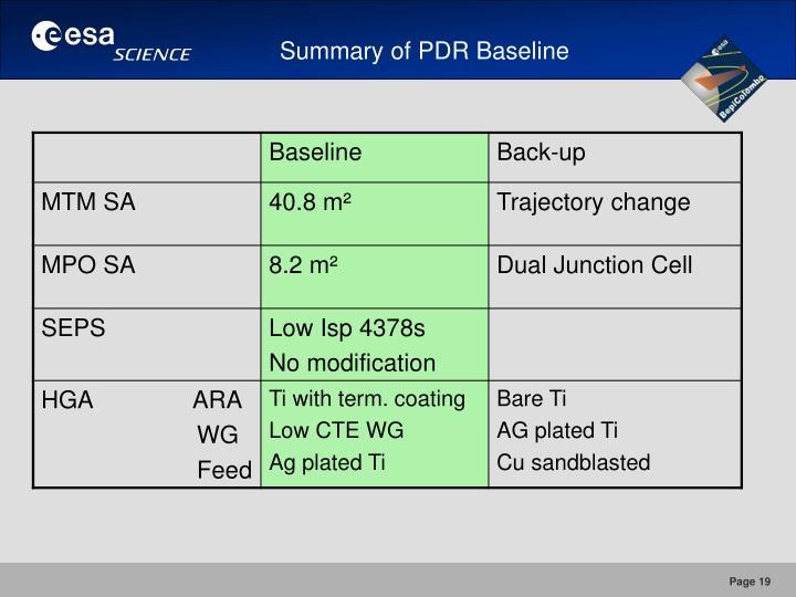Summary of PDR Baseline