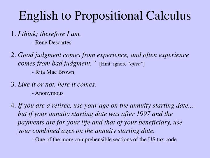 English to Propositional Calculus