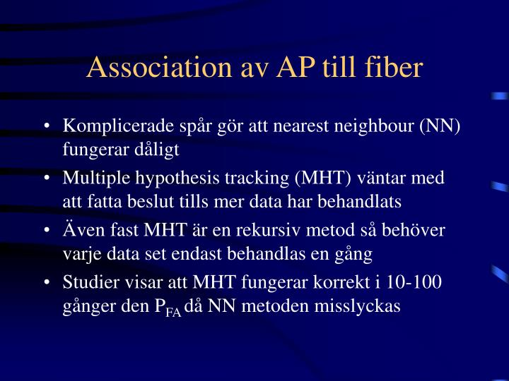 Association av AP till fiber