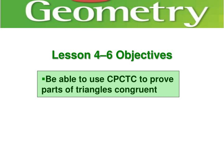 Lesson 4–6 Objectives