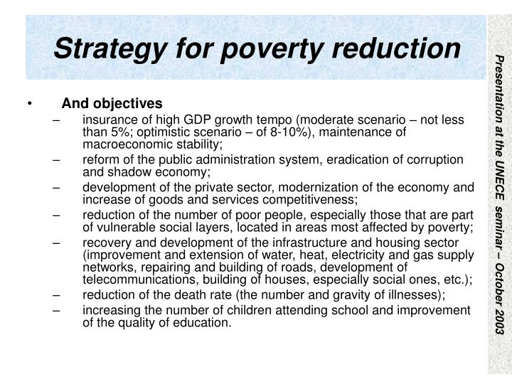 Strategy for poverty reduction