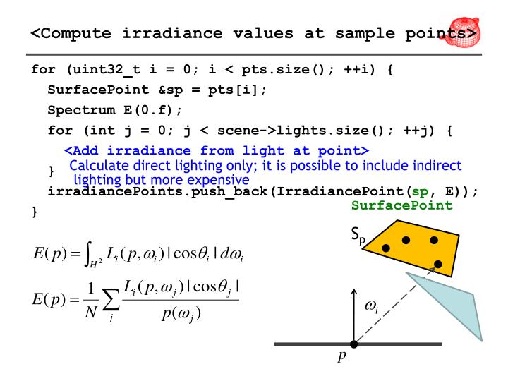 <Compute irradiance values at sample points>