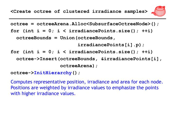 <Create octree of clustered irradiance samples>