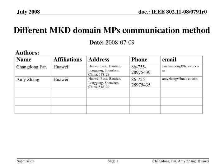 different mkd domain mps communication method