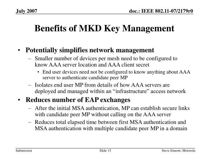 Benefits of MKD Key Management