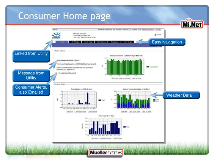 Consumer Home page