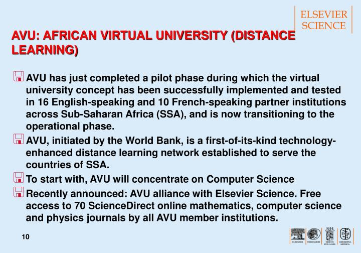 AVU: AFRICAN VIRTUAL UNIVERSITY (DISTANCE LEARNING)