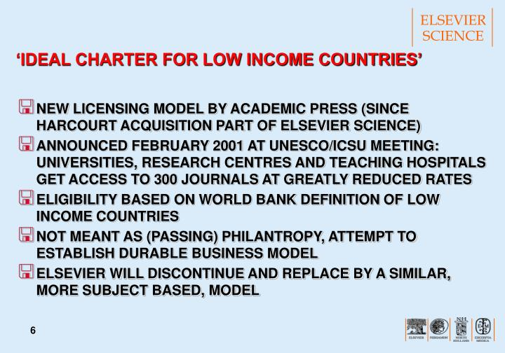 'IDEAL CHARTER FOR LOW INCOME COUNTRIES'