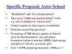 specific proposal astro school