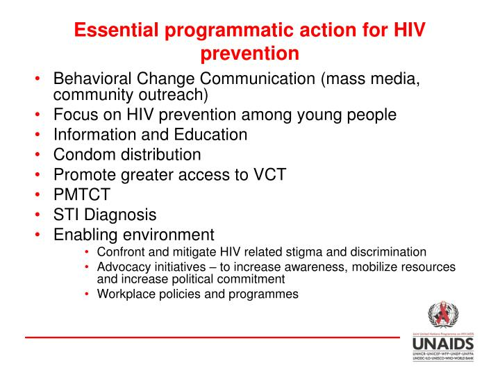 Essential programmatic action for HIV prevention