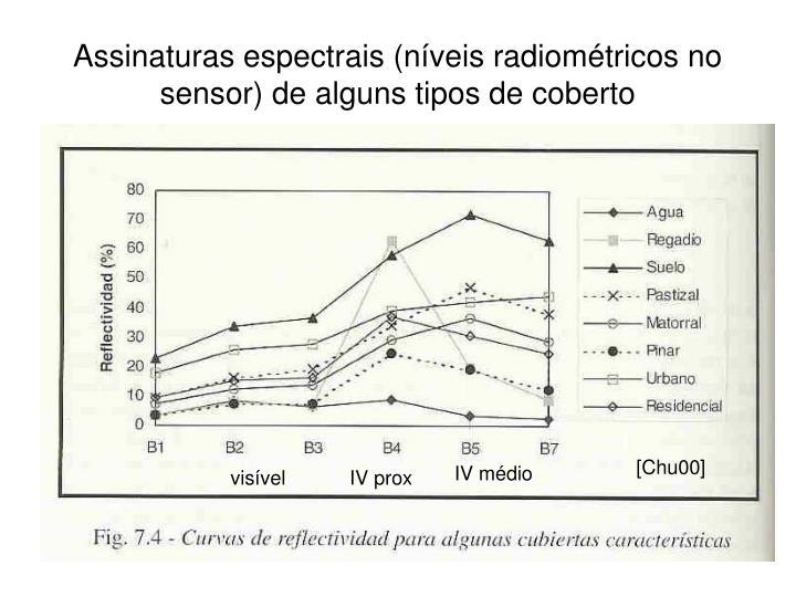 Assinaturas espectrais (níveis radiométricos no sensor) de alguns tipos de coberto