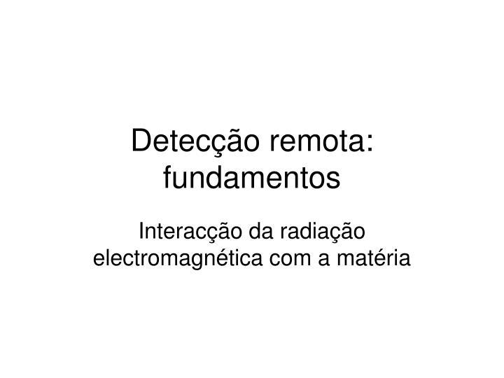 Detecção remota: fundamentos