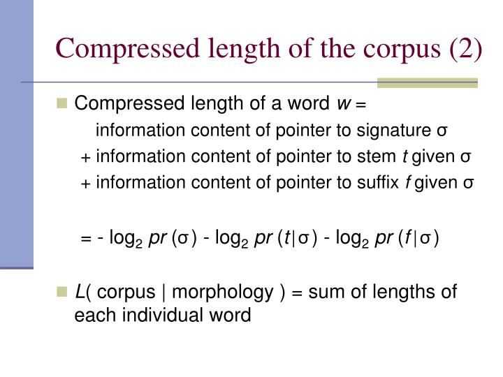 Compressed length of the corpus (2)