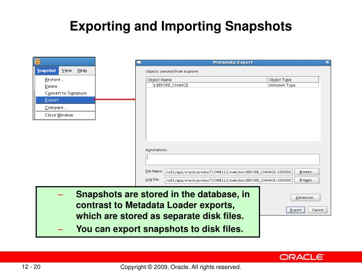Exporting and Importing Snapshots