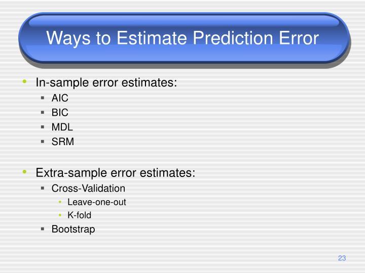 Ways to Estimate Prediction Error