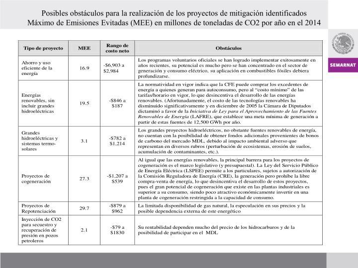 Posibles obstáculos para la realización de los proyectos de mitigación identificados