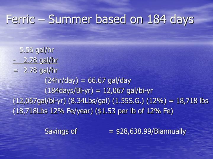 Ferric – Summer based on 184 days