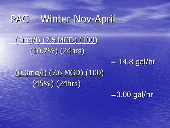 PAC – Winter Nov-April