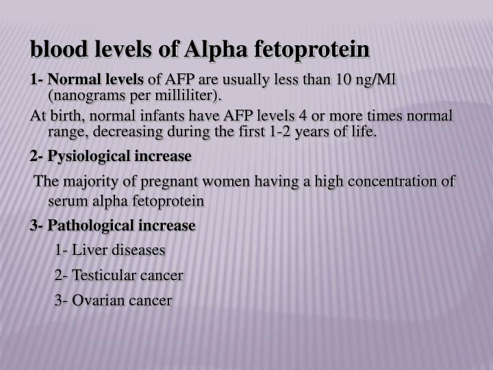 blood levels of Alpha fetoprotein