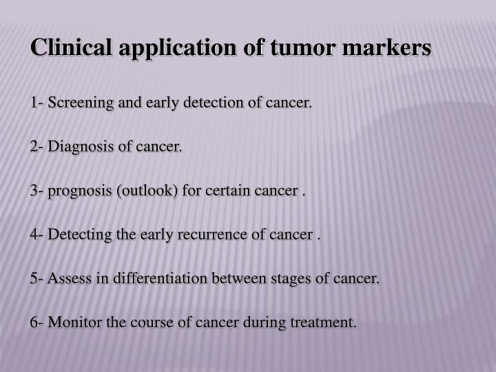 Clinical application of tumor markers