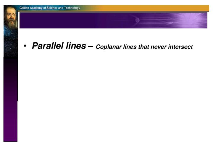 Parallel lines –