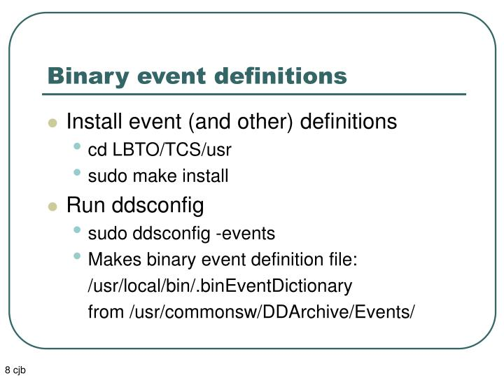 Binary event definitions