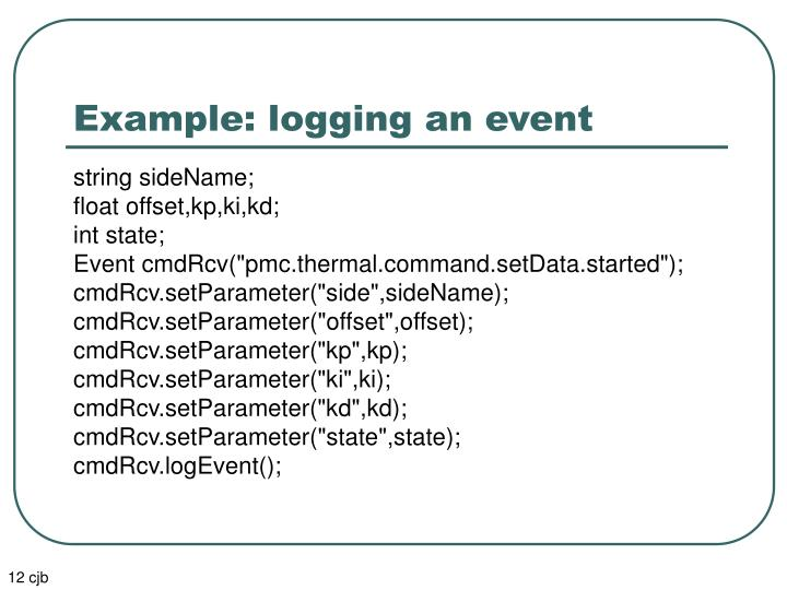 Example: logging an event