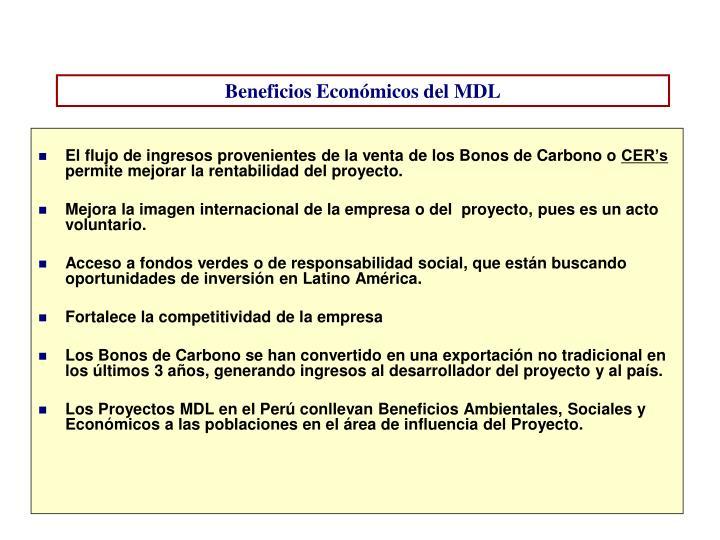 Beneficios Económicos del MDL