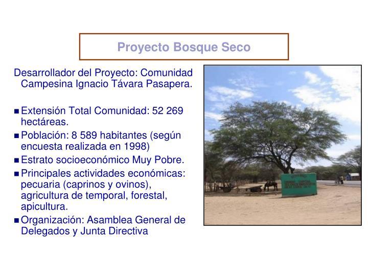Desarrollador del Proyecto: Comunidad Campesina Ignacio Távara Pasapera.