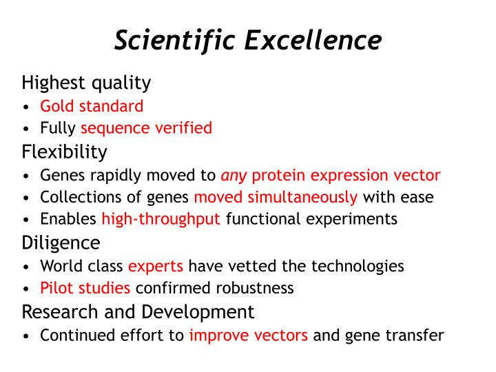 Scientific excellence