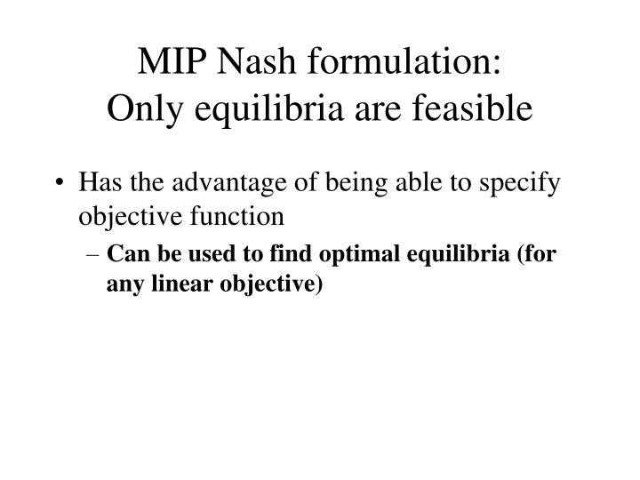 MIP Nash formulation: