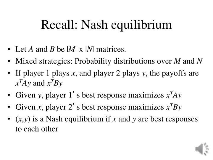 Recall: Nash equilibrium