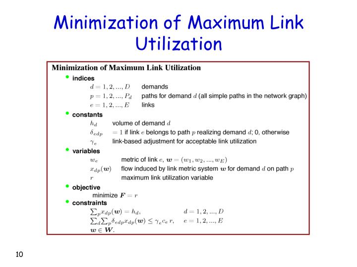 Minimization of Maximum Link Utilization