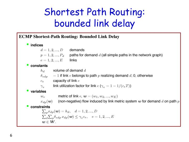 Shortest Path Routing: