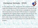 container formats divx