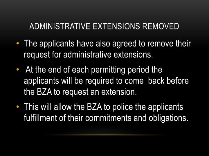 ADMINISTRATIVE EXTENSIONS REMOVED
