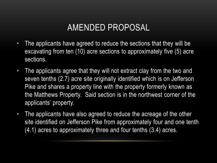 AMENDED PROPOSAL