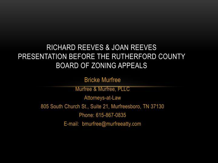 RICHARD REEVES & JOAN REEVES