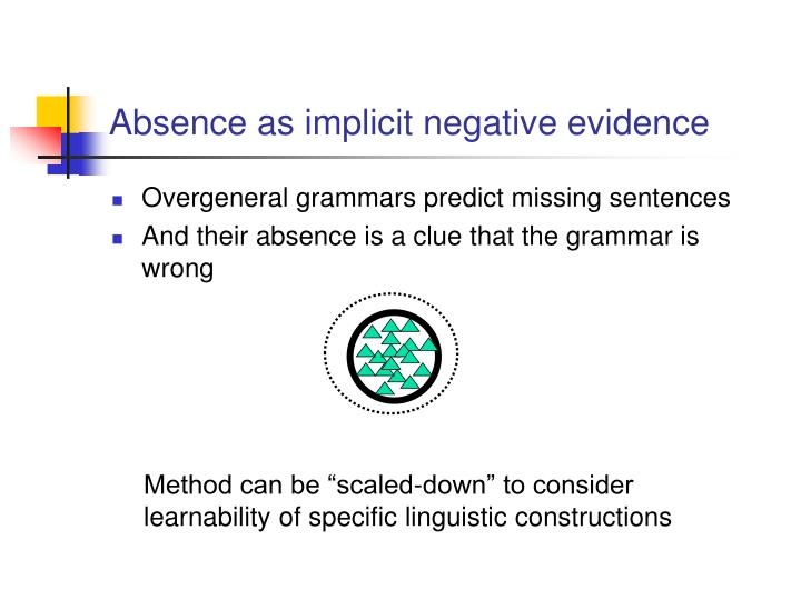 Absence as implicit negative evidence
