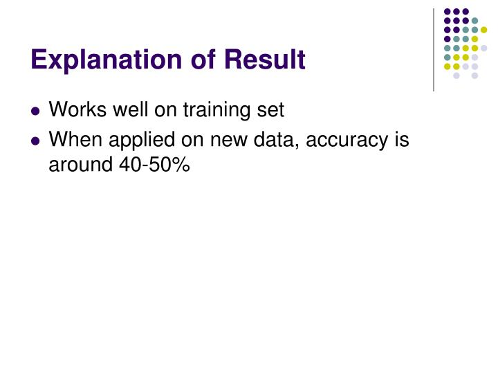 Explanation of Result