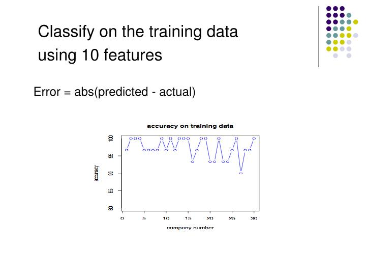 Classify on the training data