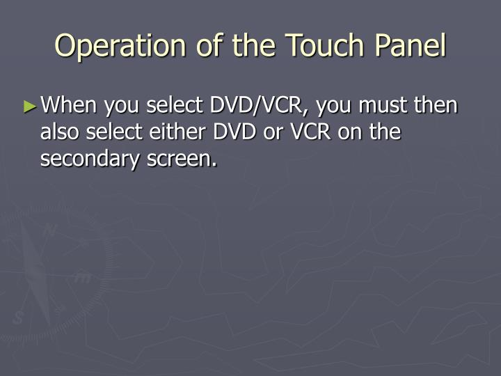 Operation of the Touch Panel