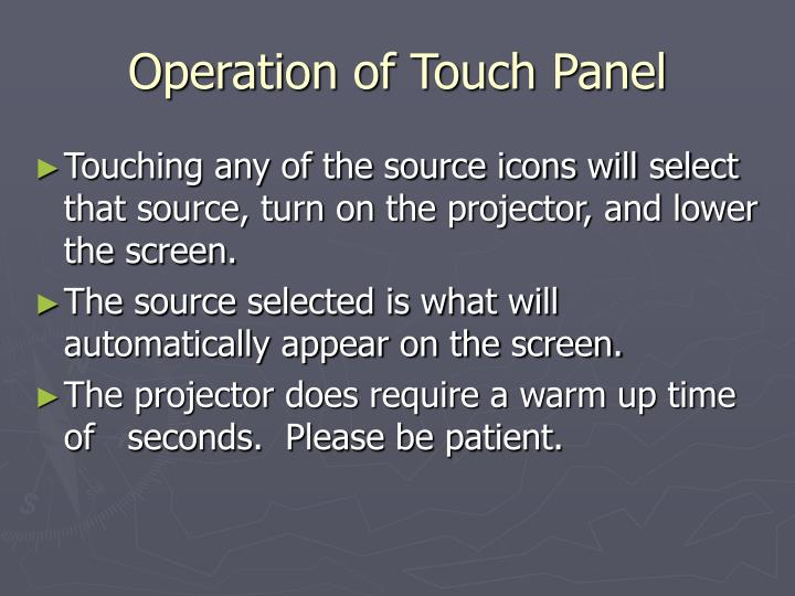 Operation of Touch Panel