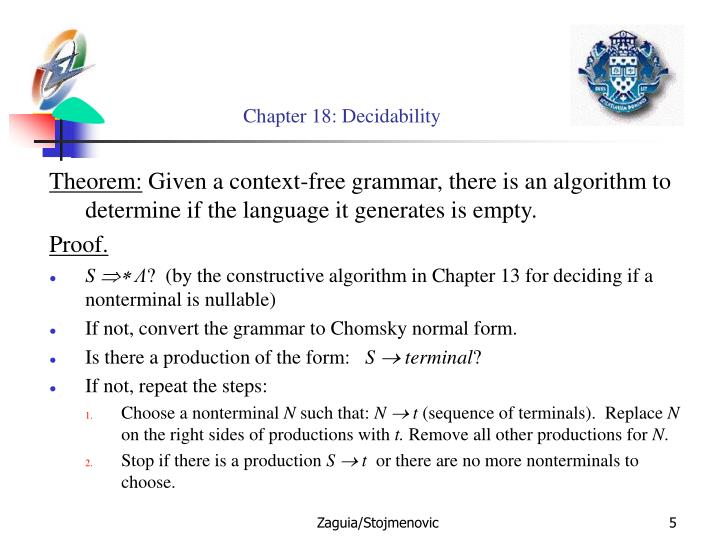 Chapter 18: Decidability
