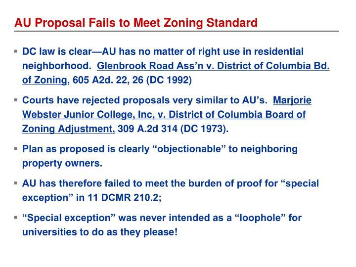 AU Proposal Fails to Meet Zoning Standard