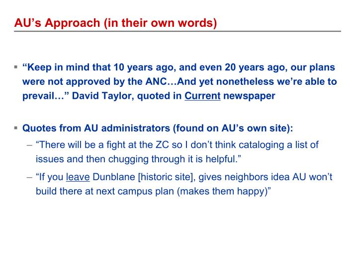 AU's Approach (in their own words)